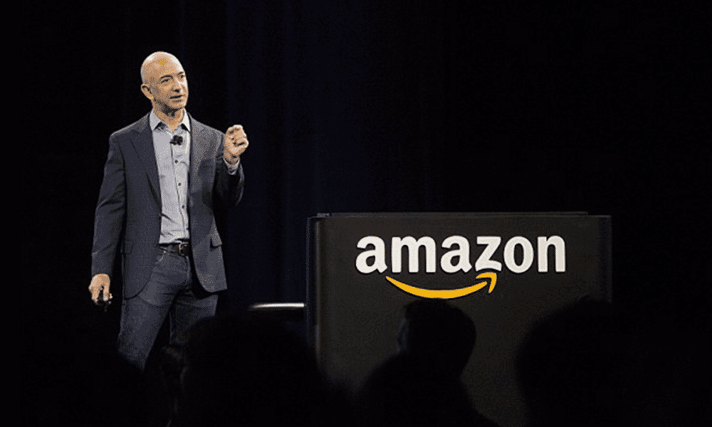 obsessed with 100s of review products on Amazon picture of Amazon's CEO, Jeff Bezos.