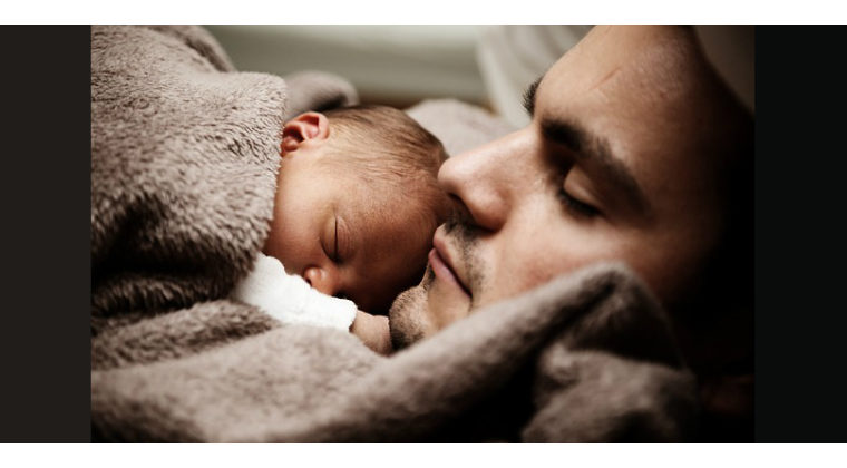 dad and baby The body need Sleep