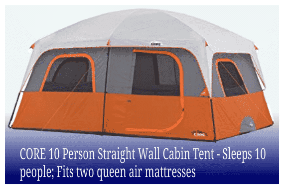 CORE 10 Person Straight Wall Cabin Tent - Sleeps 10 people; Fits two queen air mattresses