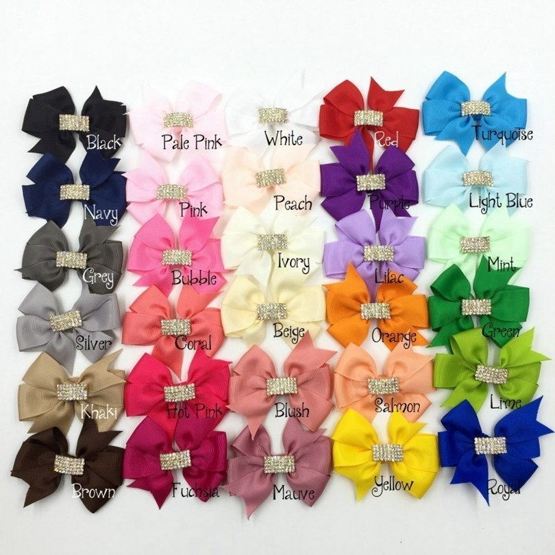 "10pcs/lot 3"" 30colors Hair Clips Handmade Grosgrain Bows Rhinestone Buttons Ribbon Boutique Hair Bows For Girls Hair Accessories"
