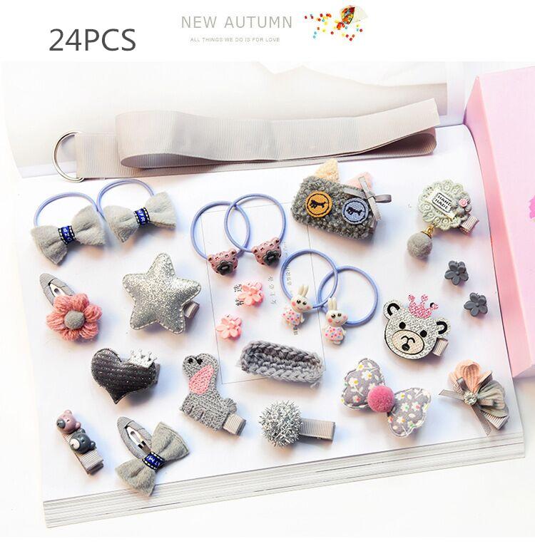 12-24pcs/lot Children girls hair Accessories Headwear gift Ribbon hair Bow Rabbit Hair clip hair ties Princess Crown barrette