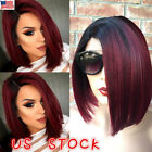 16'' Women Short Straight Bobo Full Wigs Brazilian Glueless Hair Side-parted US