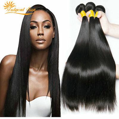 22+24+26 inch straight Hair 3 Bundles 1B/ Brazilian 300g Human Virgin Extensions