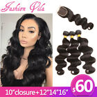3 Bundles With 4×4 Lace Closure Brazilian Human Hair Extensions Body Wave Black