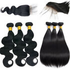 3bundles with Closure 100% Remy Brazilian Virgin Human Hair Extension Weave Weft