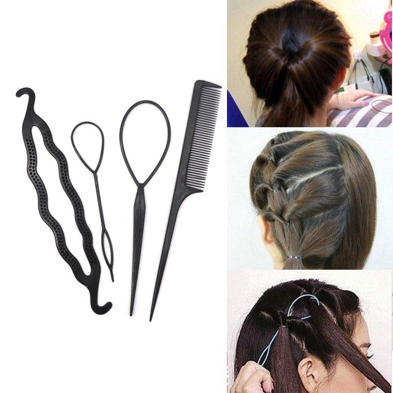 4pcs Ponytail Creator Plastic DIY Hair Styling Tools Black Hair Bands For Girls Hair Braid Accessories Bun Maker Girls Headbands