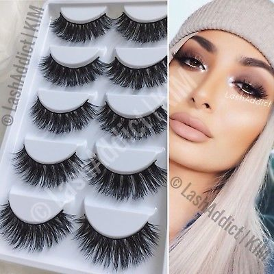 5 PAIRS Mink Lashes Eyelashes 3D WISPY Eyelash Extension Makeup Fur | US SELLER
