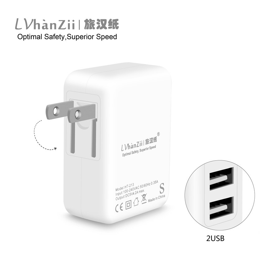 5V 4.2A US Canada Dual USB Port Plug Power Wall Charger Safe And Fast charge For iPhone iPad Samsung Mobile Phone USB Charger