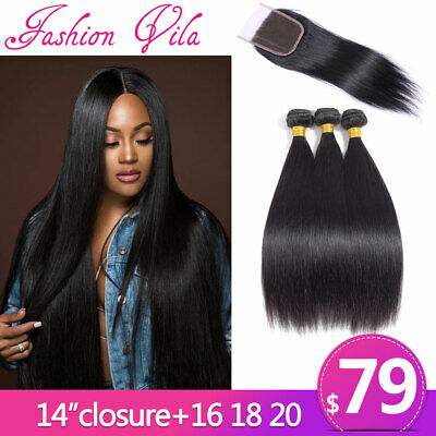 7A Brazilian Straight Hair 3 Bundles With 4x4 Lace Closure 100% Real Human Hair