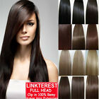 """7pcs 15"""" 18"""" 20"""" 22"""" Clip In Remy Real 100% Human Hair Extensions Full Head N206"""