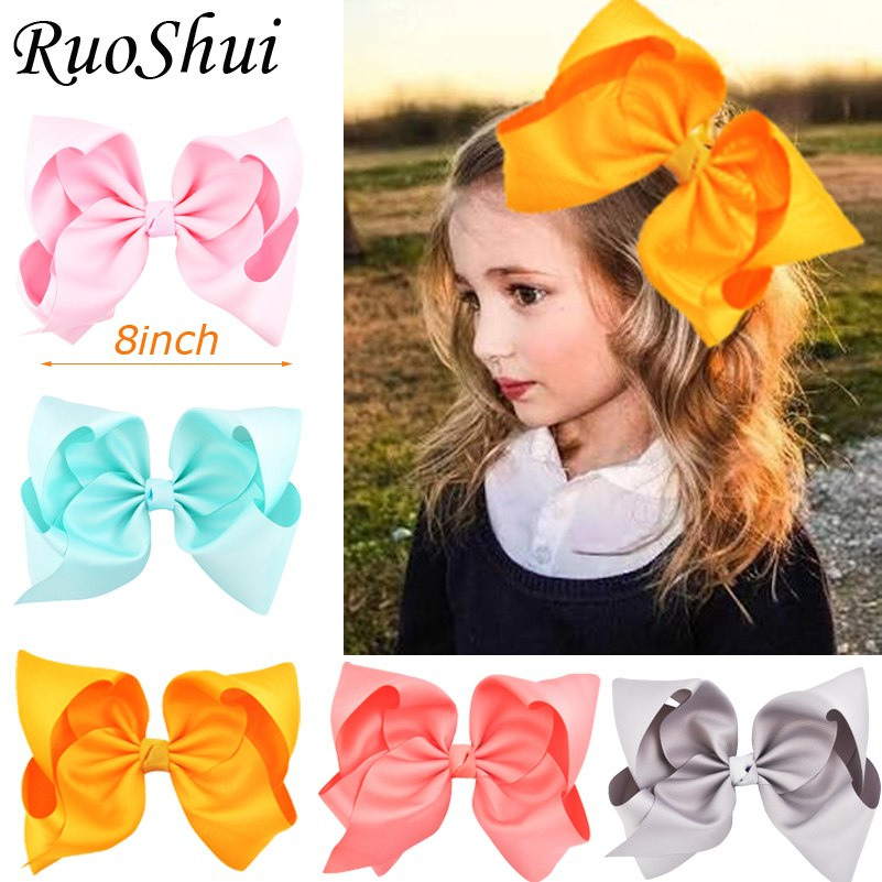 "8"" Large Grosgrain Ribbon Hair Clips Hairpins Barrette Bowknot Headwear Solid Children Hair Bow For Girls"
