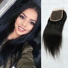 """8A 100% Virgin Straight Hair Lace Closure Brazilian Human Hair 4 x 4"""" Free Part"""