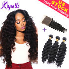 8A Brazilian Human Hair Extensions Bundles with 4*4 Closure Deep Wave Weft Black