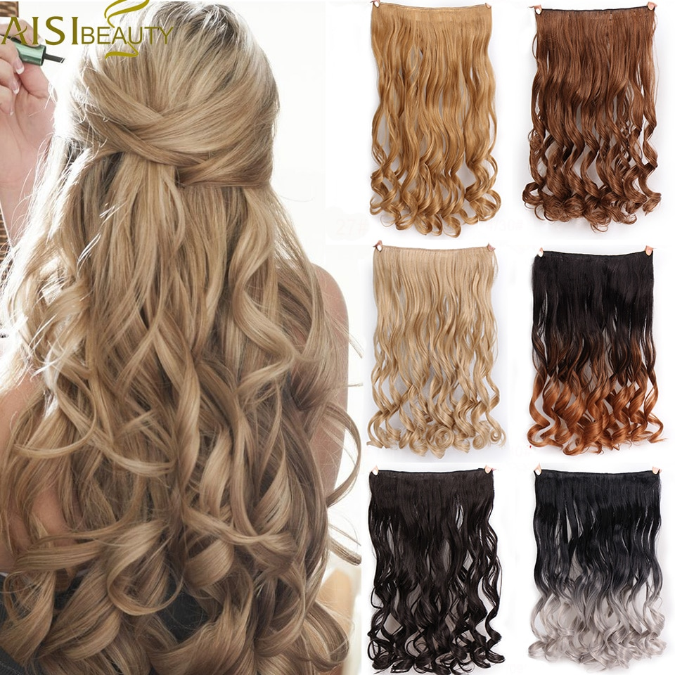 """AISI BEAUTY Synthetic Curly Hair Extensions 24"""" 120g 5 Clips in One Piece High Temperature Fiber False for Women Free Shipping"""