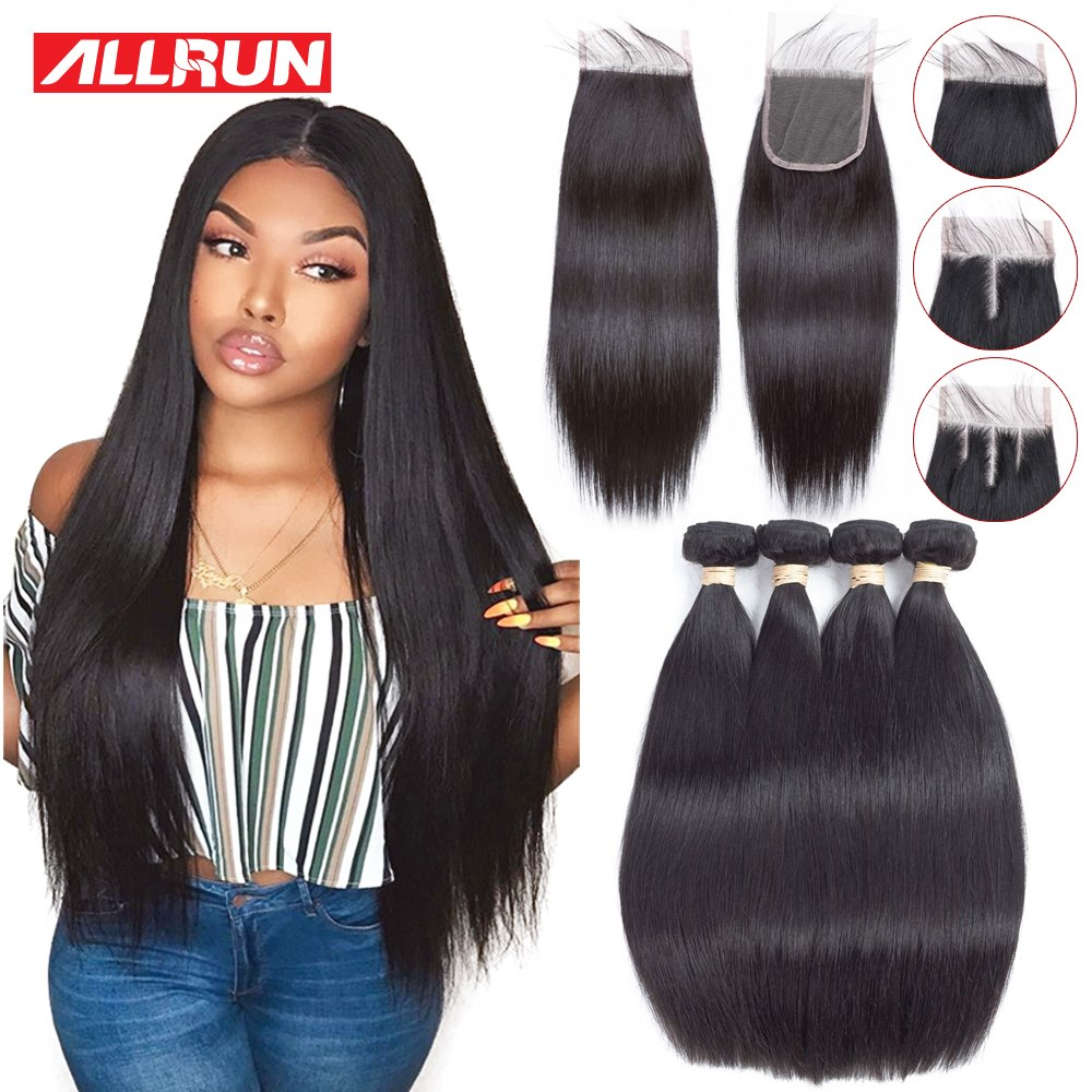 Allrun Straight Bundles with Lace Closure Brazilian Weave Human Hair Bundles with Closure non Remy Extension 2/3 Bundles Deal