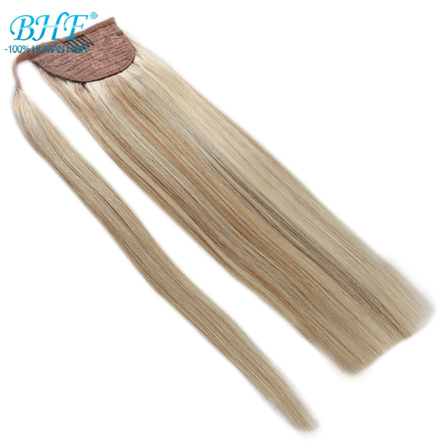 BHF Human Ponytail Hair Straight Russian Remy Pony Tail Extension 2# Dark Brown 613# Blonde 120g 24inch Clip in Wig