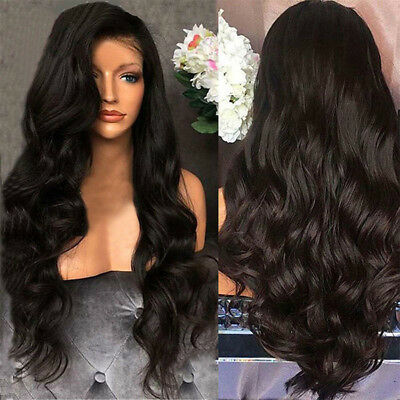 Black Curly Wavy Brazilian Remy Human Hair Body Wave No Lace Front Hair Wigs