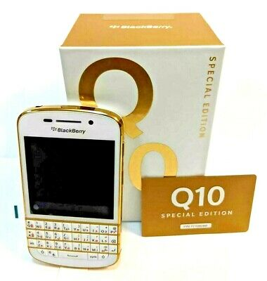 BlackBerry Q10 Special Edition (White & Gold) (Factory Unlocked) Smartphone