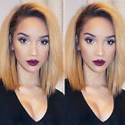 Bob Ombre Full Wig Brazilian Remy Human Hair Lace Front Wigs Blonde Brown Wine v