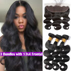 Body Wave 3 Bundles With 13*4 Lace Frontal Brazilian human hair Weave Closure US