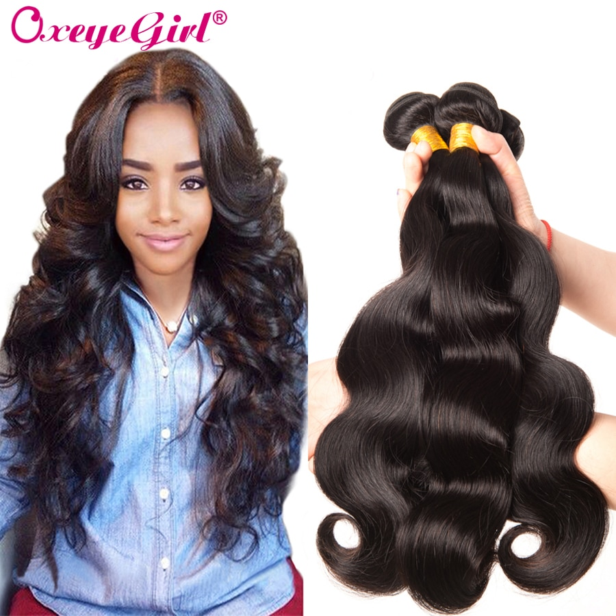 Body Wave Bundles Brazilian Hair Weave Bundles 1/3/4 PC 100% Human Hair Extensions Brazilin Remy Hair Natural Color Oxeye girl