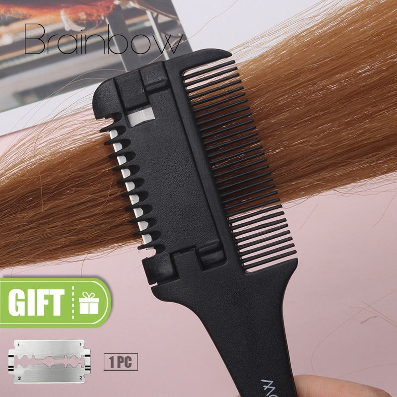 Brainbow 1pc Hair Cutting Comb Black Handle Hair Brushes with Razor Blades Cutting Thinning Trimmin Hair Salon DIY Styling Tools