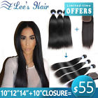 Brazilian Hair 3 Bundles with 4x4 Closure Straight Human Hair Extensions Weave