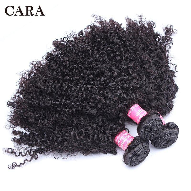Brazilian Kinky Curly Hair Human Hair 1 or 3 Bundles 3B 3C Hair Weave Non-Remy Natural Human Hair Extensions CARA