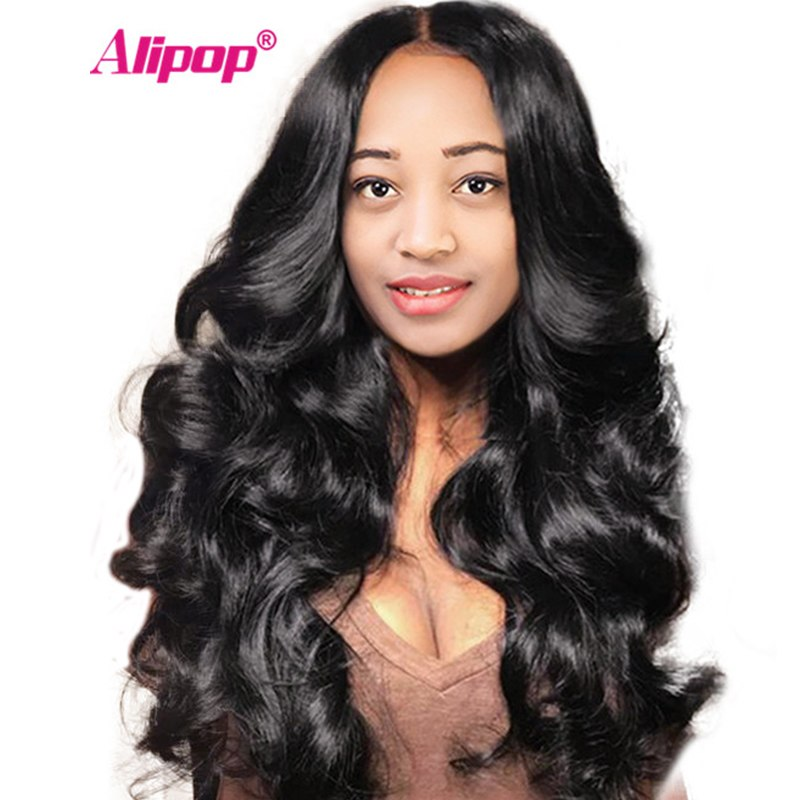 Brazilian Lace Front Human Hair Wigs For Women Black ALIPOP Body Wave Wigs Remy Lace Front Wig With Baby Hair Pre Plucked #1B #2