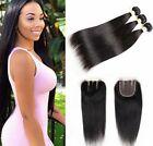 Brazilian Straight Hair 3 Bundles with Three Part Closure 100% Virgin Human Hair