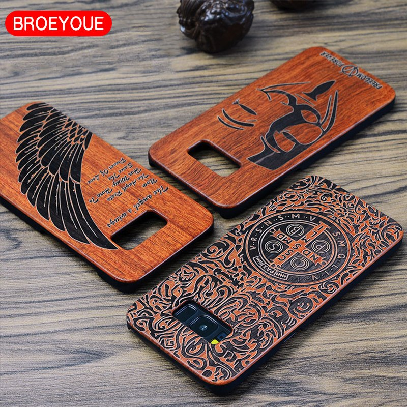 Broeyoue Wood PC Case For Samsung Galaxy S7 Edge S8 S8 Plus Natural Bamboo Carving Wood Plastic Mobile Phone Back Cover Coque