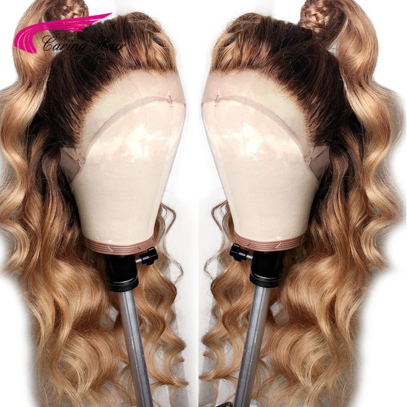 Carina Long Honey Blonde Brazilian Remy Curly Full Human Hair Wigs Ombre 1b27 Lace Front Wig With Black Dark Roots For Sale