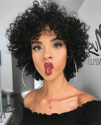 Fashion Black Human Hair Wig Short Curly Afro African American Wigs for Women
