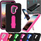 For T-Mobile REVVL/ALCATEL A30 FIERCE+TEMPERED GLASS Phone Case Armor P-Stand