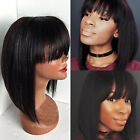 Full Wig Brazilian Pure Human Hair None Lace Cap Wigs With Bangs For Black Women