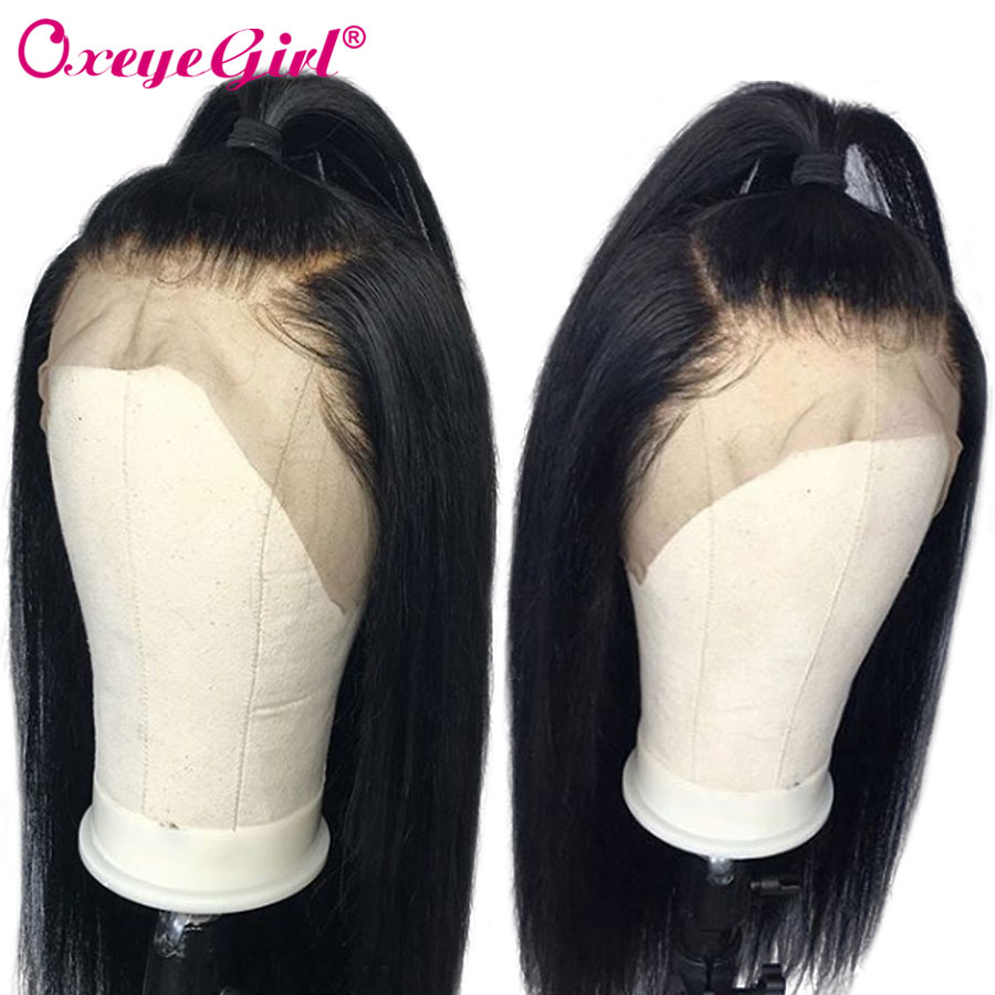 Glueless Full Lace Human Hair Wigs With Baby Hair Brazilian Straight Hair Wigs For Women Remy Hair Natural Black Oxeye girl