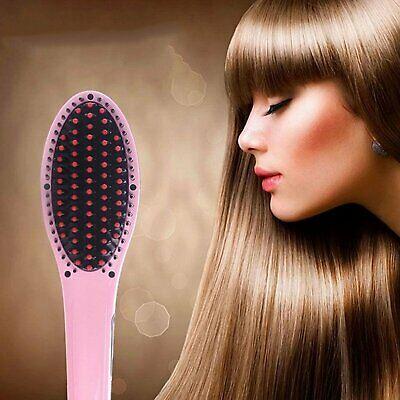 Hair Straightener Comb Electric LCD Auto Temperature Control Iron Brush Massager