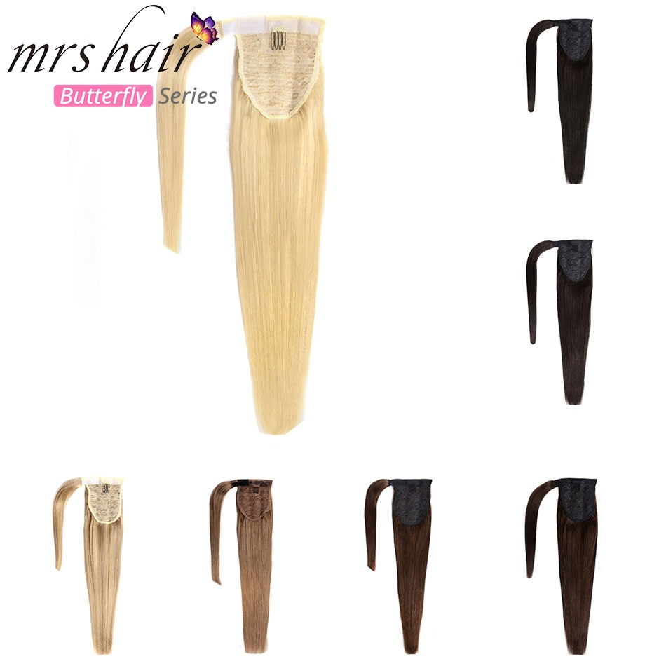 "MRS HAIR Ponytail Human Hair Clip In Black / Blonde Machine Made Remy Hairpieces Straight Clip In Hair Extensions 14"" 18"" 22"""