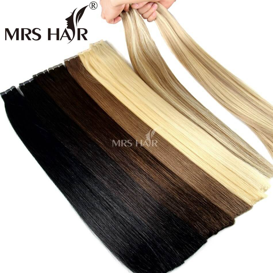 MRSHAIR Remy Tape In Human Hair Extensions Double Drawn Hair Straight Bundles Weave On Adhesives Seamless Hair Blonde