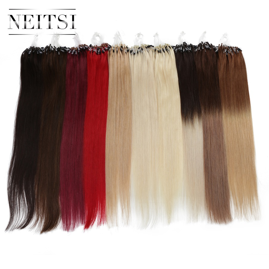 """Neitsi Straight Loop Micro Ring Hair 100% Human Micro Bead Links Machine Made Remy Hair Extension 16"""" 20"""" 24"""" 1g/s 50g 20 Colors"""