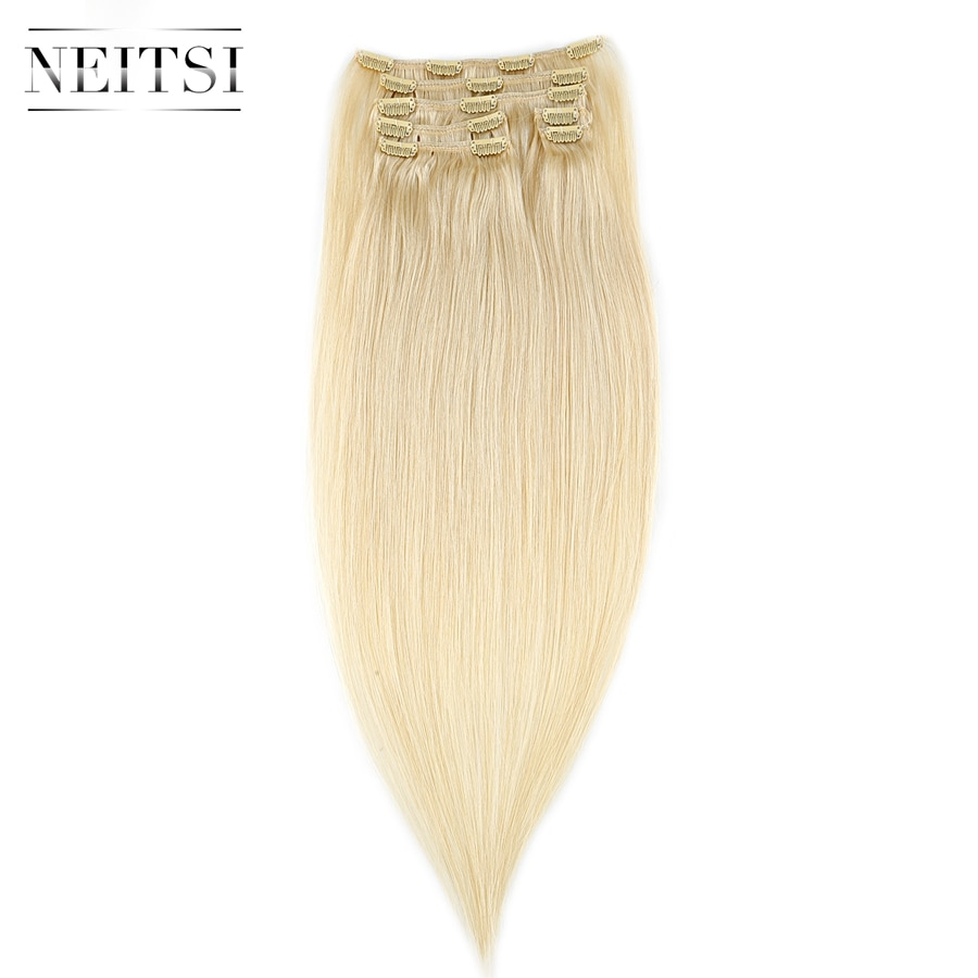 "Neitsi Straight Machine Made Remy Clip In On Hair Full Head 100% Human Hair Extensions 20"" 24"" 100g 7pcs 16 Clips 10 Colors"