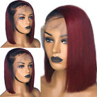 New Ombre Black Red Short Bob Wig Brazilian Human Hair Lace Front Wigs Straight