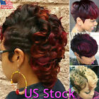 Ombre Black Wine Red Blonde Short Wavy Curly Style Synthetic Women Fashion Wigs