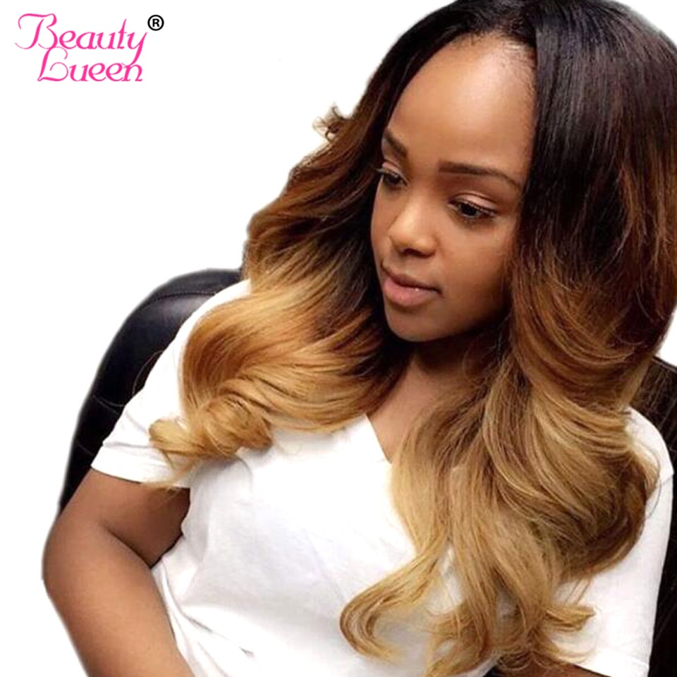 Ombre Human Hair Bundles Ombre Brazilian Hair Weave Bundles Body Wave Colored Bundles Honey Blonde T1B/4/27 Remy Hair Extension