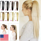 One Piece 100% Real Human Hair Wrap Around Ponytail Clip In Hair Extensions Y091