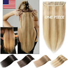One Piece 100% Remy Clip In Human Hair Extensions 3/4 Full Head Weft DIY US B423