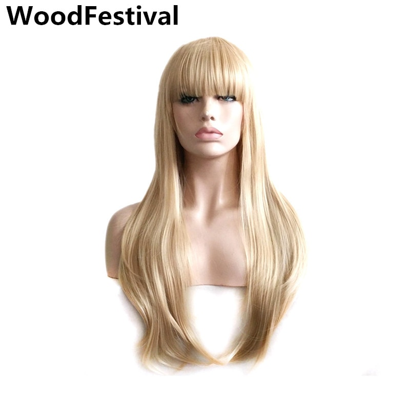 party ladies wigs blond wig straight hair heat resistant long blonde wig with bangs synthetic wigs for women WoodFestival