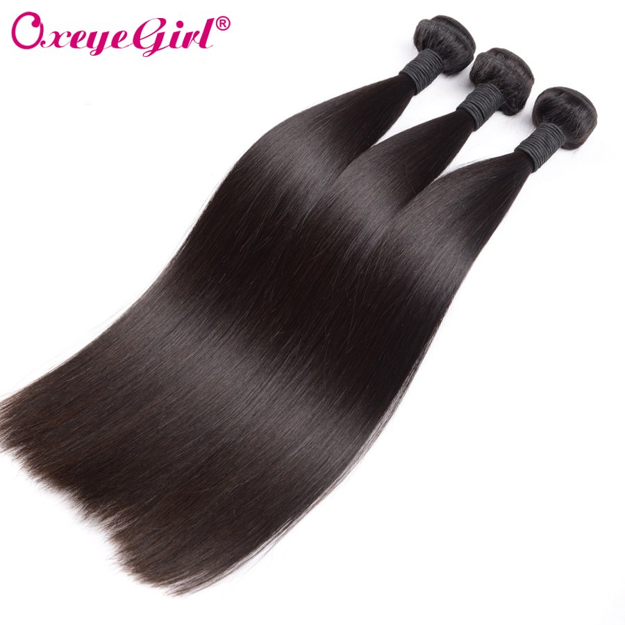 Peruvian Hair Human Hair Extensions Straight Hair Bundles 1/3/4 Bundle Deals Remy Hair Weave Bundles Double Weft Oxeye girl