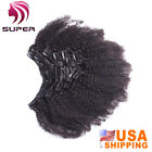 Remy Afro Kinky Curly Clip in Human Hair Weft Weave Extensions Clip ins 7pcs 70g