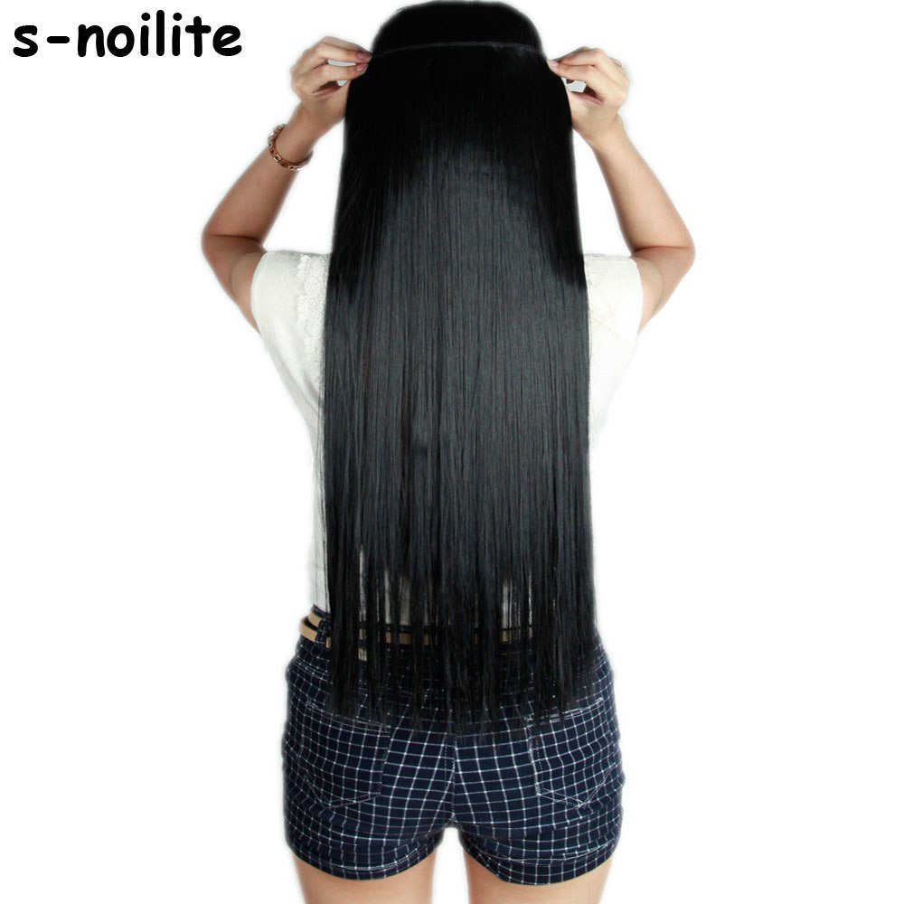 S-noilite Fall to waist 46-76 CM Longest Clip in for human Hair Extensions One Piece Real Natural Thick Synthetic hair Extention